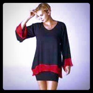 Black with red trim sheer like blouse